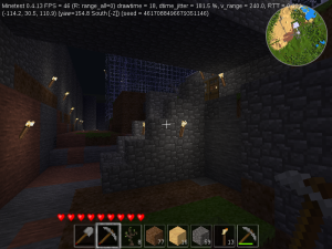 A view of a set of steps in a Minecraft clone game